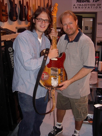 Luther Dickinson and  Dave Pops Clements with the Marty Stuart Guitar